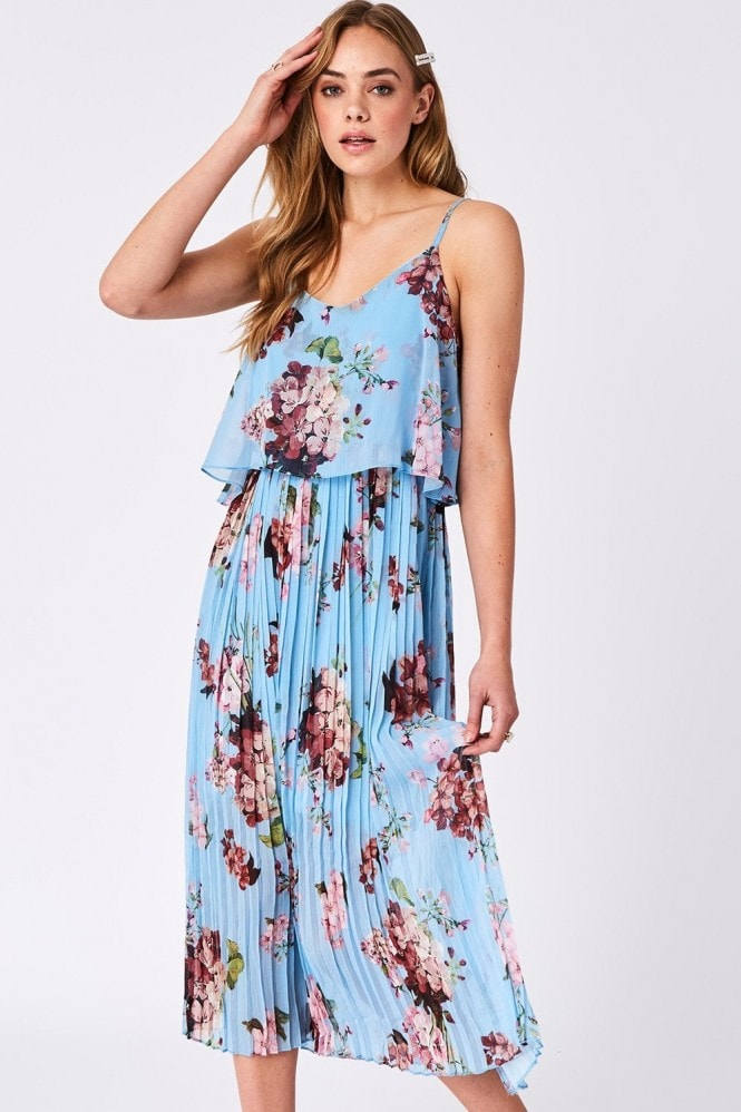 Blue Floral Print Pleated Cami Midi Dress