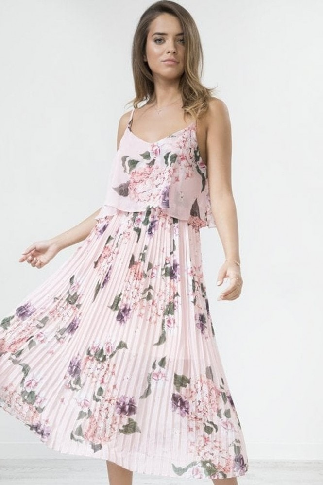 Urban Touch Coral Floral Print Pleated Cami Midi Dress
