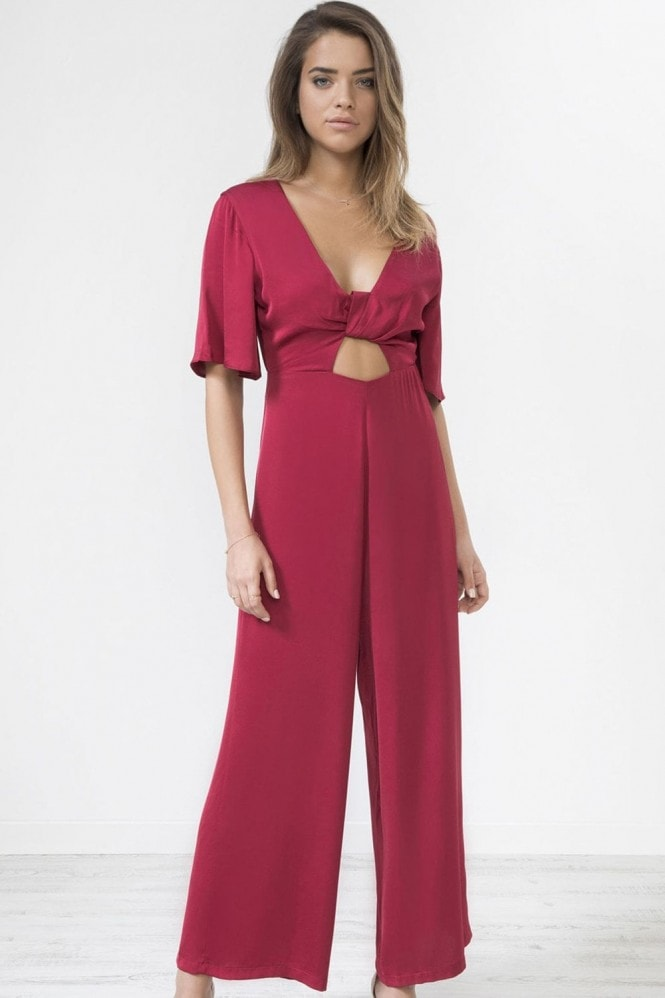 Urban Touch Sateen Knot Front Jumpsuit