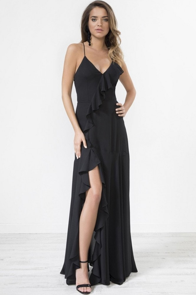 Urban Touch Black Frill Detail Strapped Back Maxi Dress