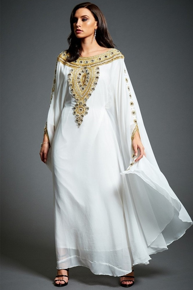Jywal London Amira Off-White Embellished Kaftan Maxi Dress