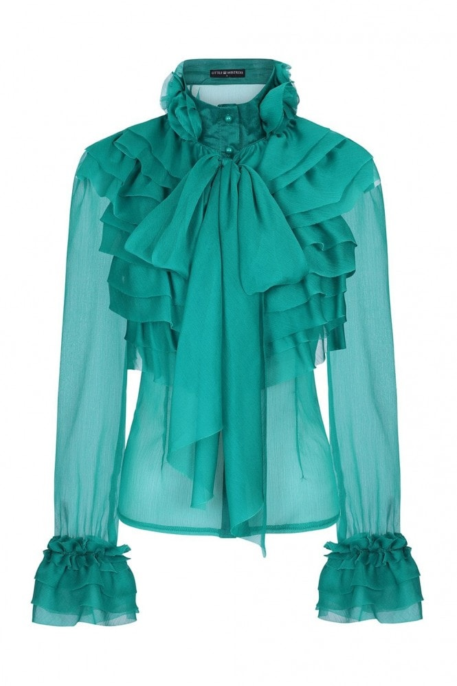 Little Mistress Lesa Green Frill And Pussybow Blouse