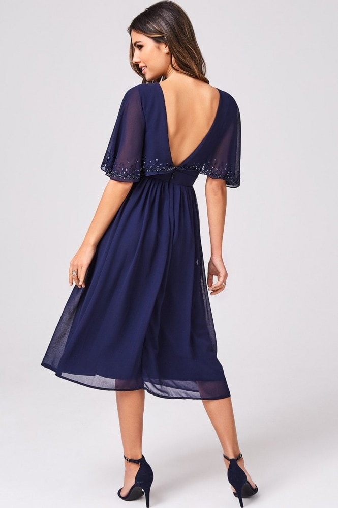 Little Mistress Luxury Sally Navy Hand-Embellished Sequin Flutter Sleeve Midi Dress
