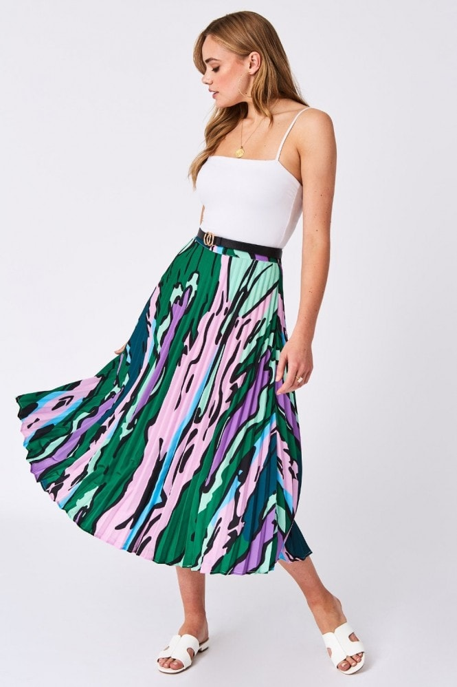 Shapiro Green And Pink Pleated Skirt
