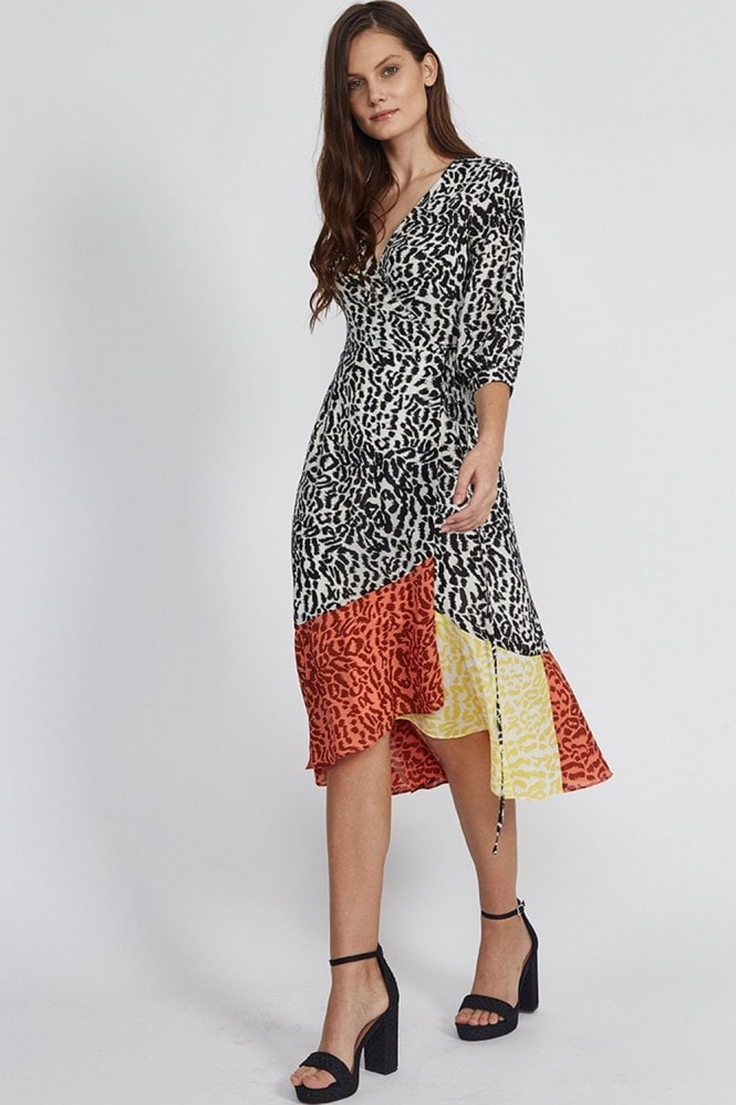 Liquorish Animal Print Midi Wrap Dress