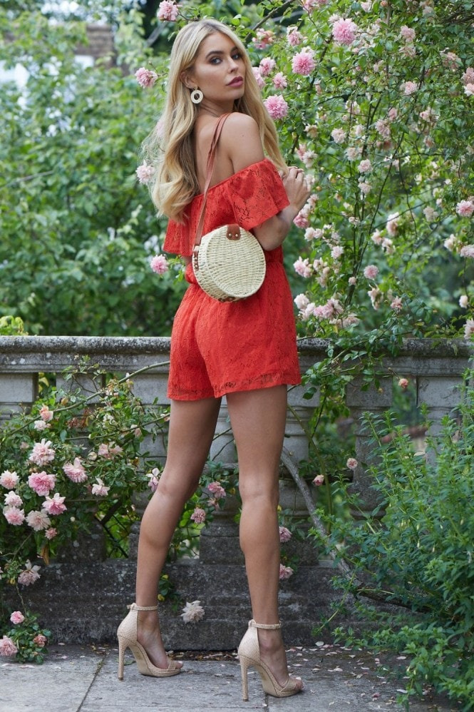Girls on Film Sorrento Red Lace Bardot Playsuit