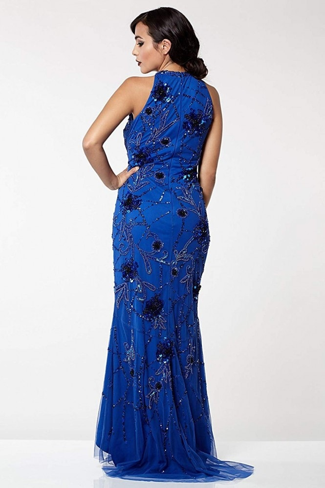 Gatsbylady London Agnes Vintage Inspired Maxi Prom Dress in Royal Blue