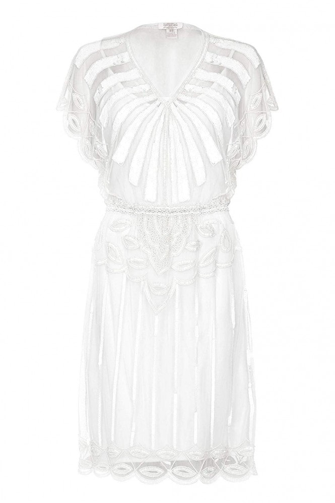 Gatsbylady London Angel Sleeve Flapper Dress in Off White