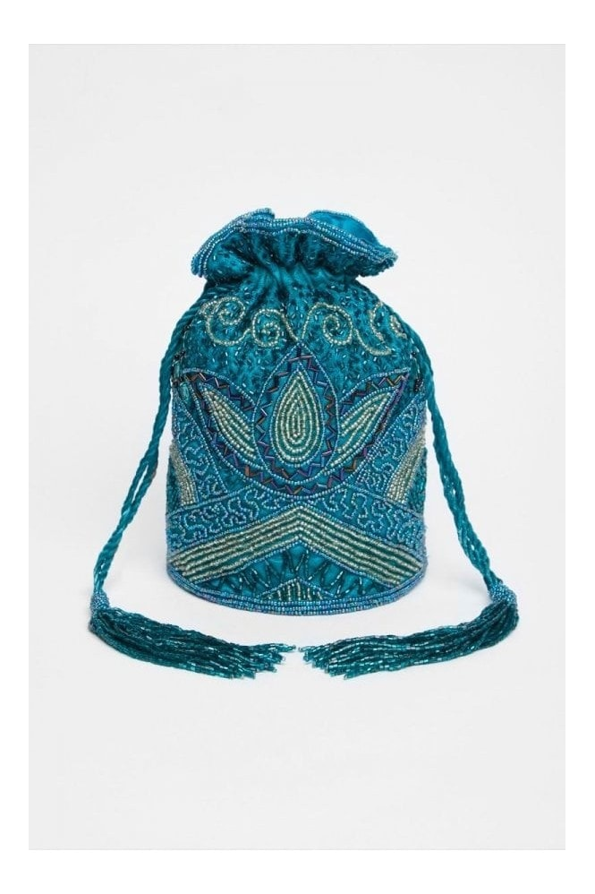 Gatsbylady London Beatrice Hand Embellished Bucket Bag in Teal