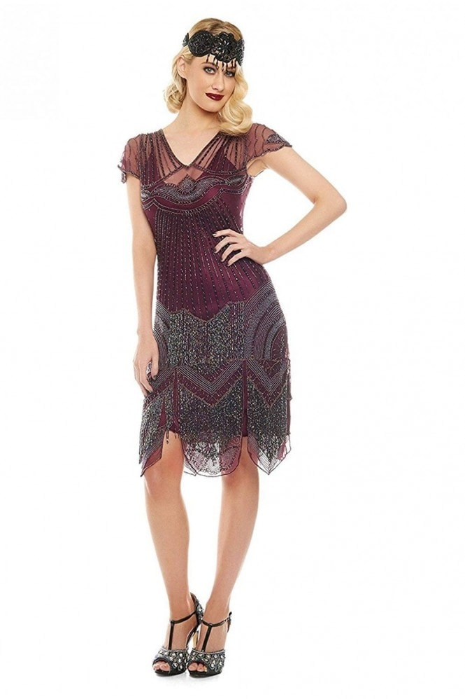 Gatsbylady London Beatrice Fringe Flapper Dress in Purple Plum