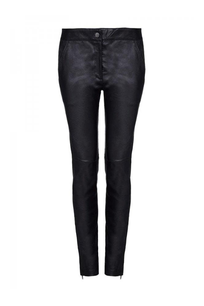 Gatsbylady London Claudia Genuine Stretch Fitted 100% Leather Trousers in Black