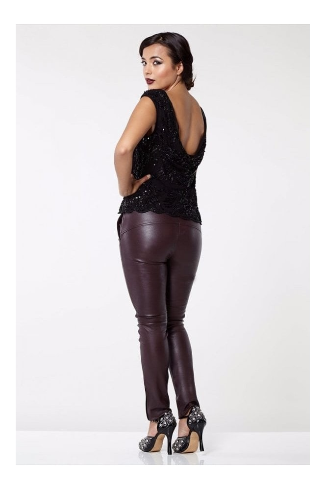 Gatsbylady London Claudia Genuine Stretch Fitted 100% Leather Trousers in Burgundy