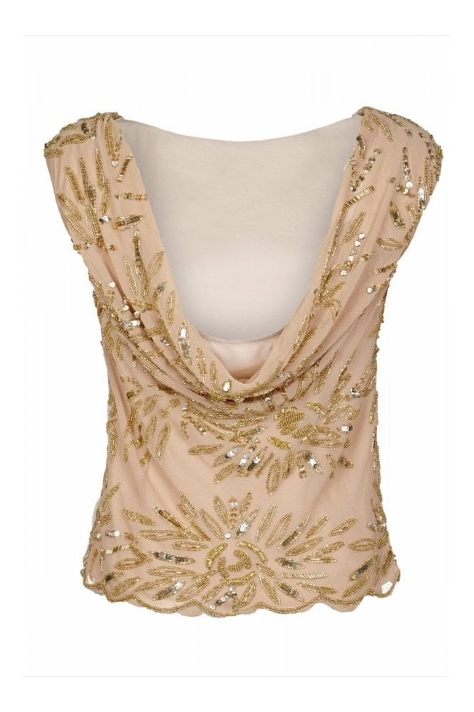 Gatsbylady London Dahlia Embellished Cowl Back Neck Top in Blush Gold