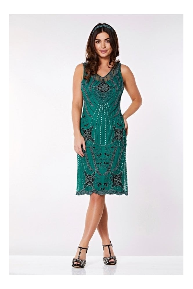 Gatsbylady London Diana Flapper Dress in Teal