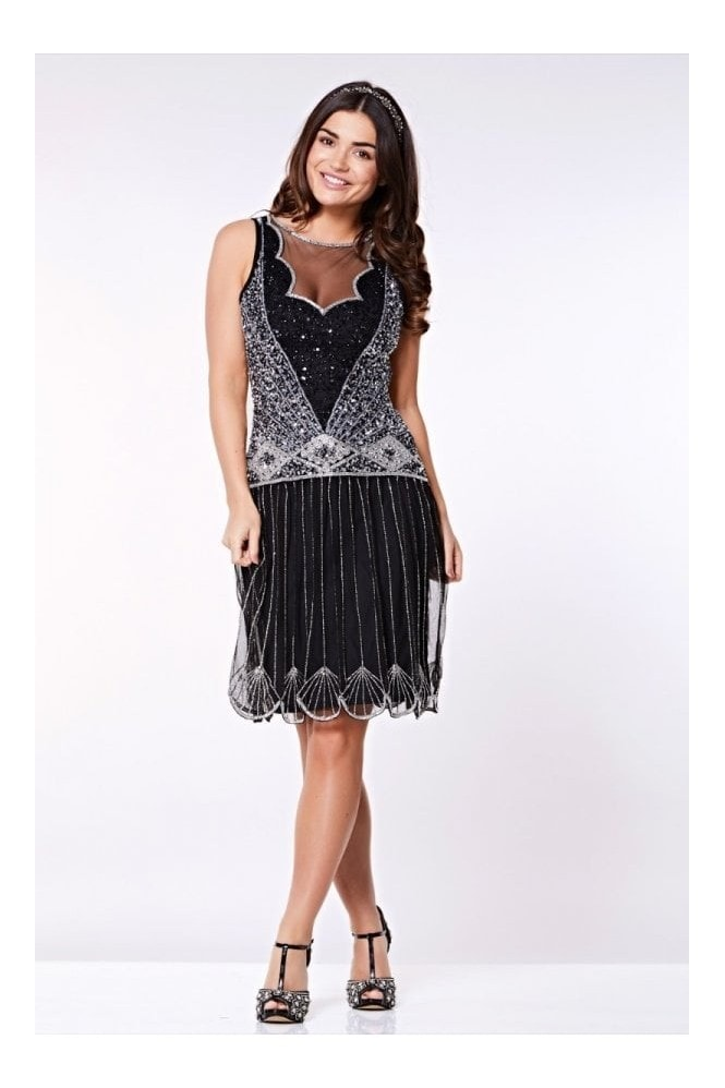 Gatsbylady London Elaina Drop Waist Flapper Dress in Black