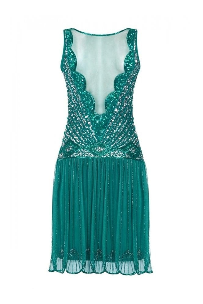 Gatsbylady London Elaina Drop Waist Flapper Dress in Teal