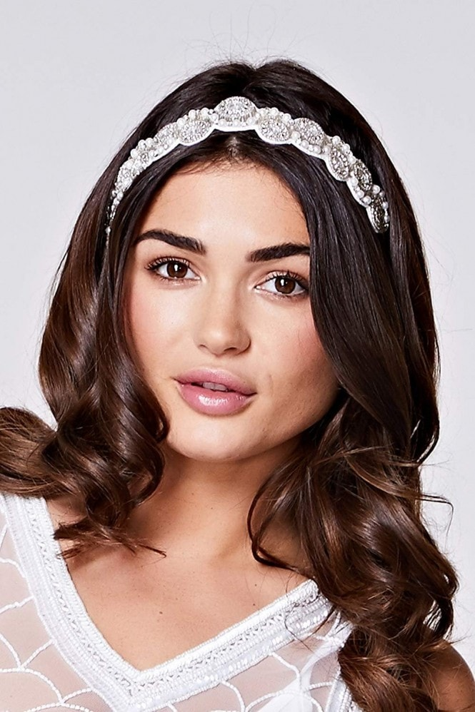 Gatsbylady London Eliza Flapper Headband in Cream Silver