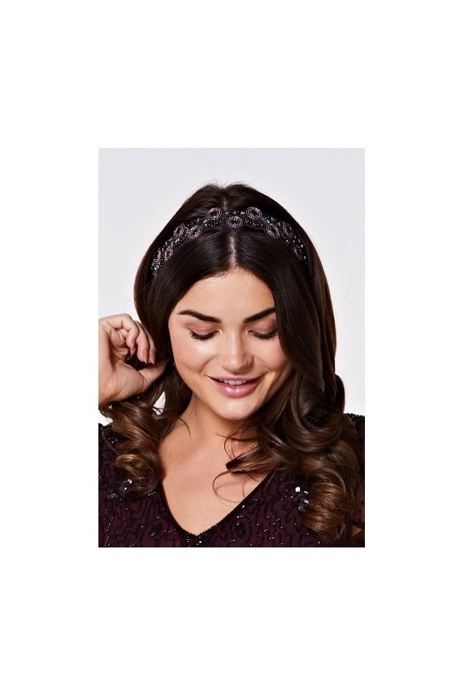 Gatsbylady London Eliza Flapper Headband in Purple Plum