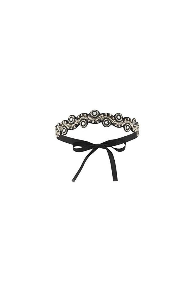Gatsbylady London Eliza Flapper Headband in Black Silver