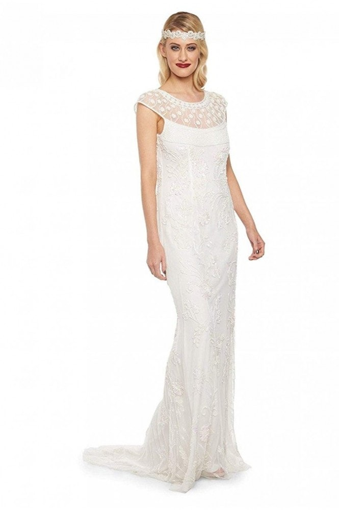 Gatsbylady London Elizabeth Maxi Wedding Prom Dress in Off-White
