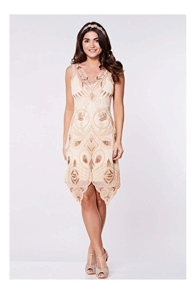 Emma Flapper Dress in Blush