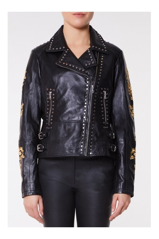 Gatsbylady London Luna Genuine Handcrafted Leather Jacket Embroidered with Golden Leaves