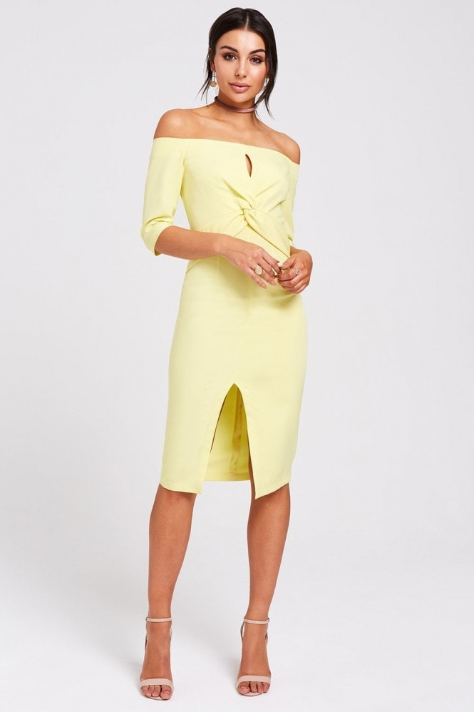 Paper Dolls Montana Lemon Twist-Front Bardot Dress