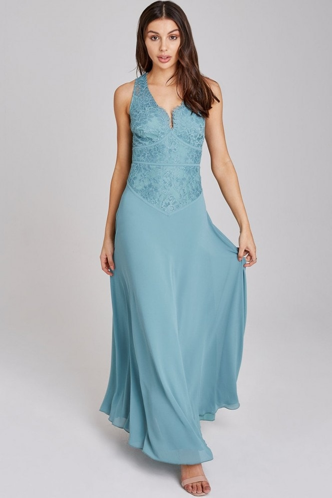 Little Mistress Ffion Fern Lace Panel Maxi Dress