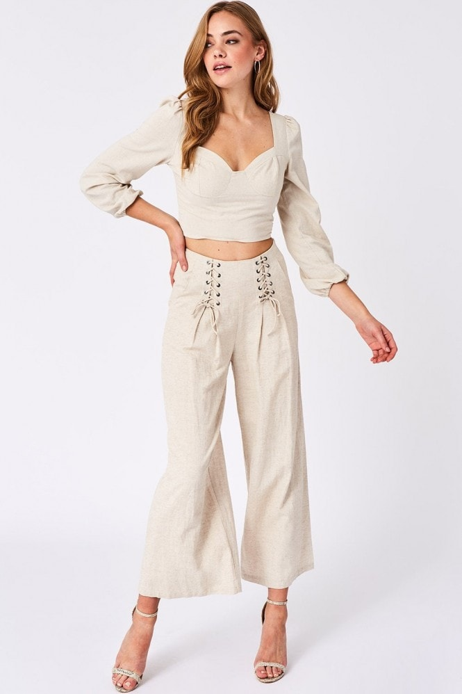 Girls on Film Origin Beige Linen Lace-Up Detail Trousers Co-ord