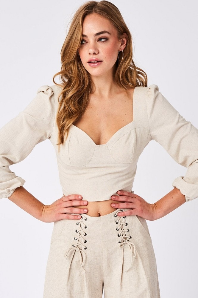 Girls on Film Origin Beige Linen Sweetheart Crop Top Co-ord