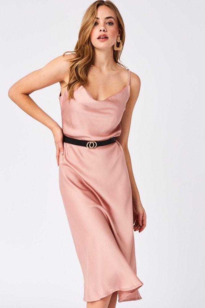 Verity Pink Satin Midi Slip Dress
