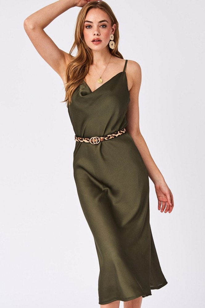Verity Khaki Satin Midi Slip Dress