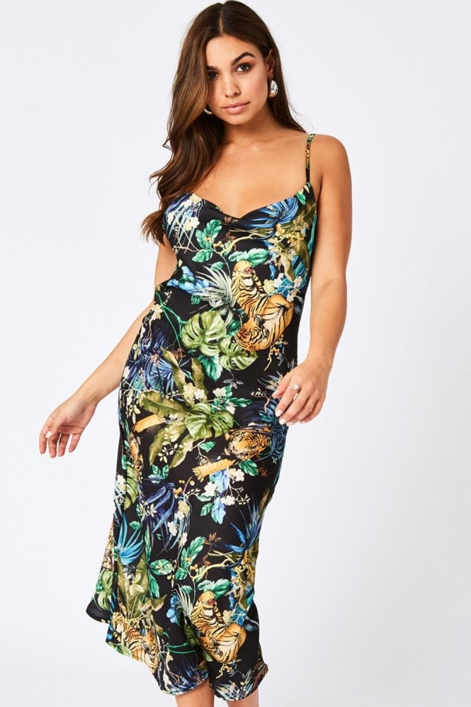 Coyote Black Jungle-Print Satin Midi Slip Dress