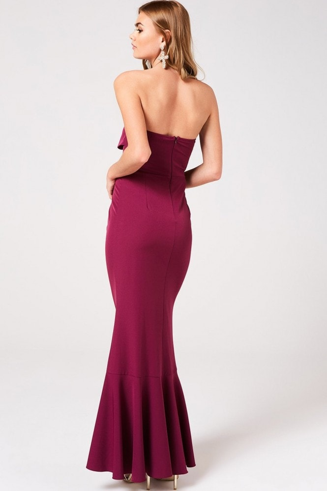 Little Mistress Nikki Mulberry Bow Bandeau Maxi Dress
