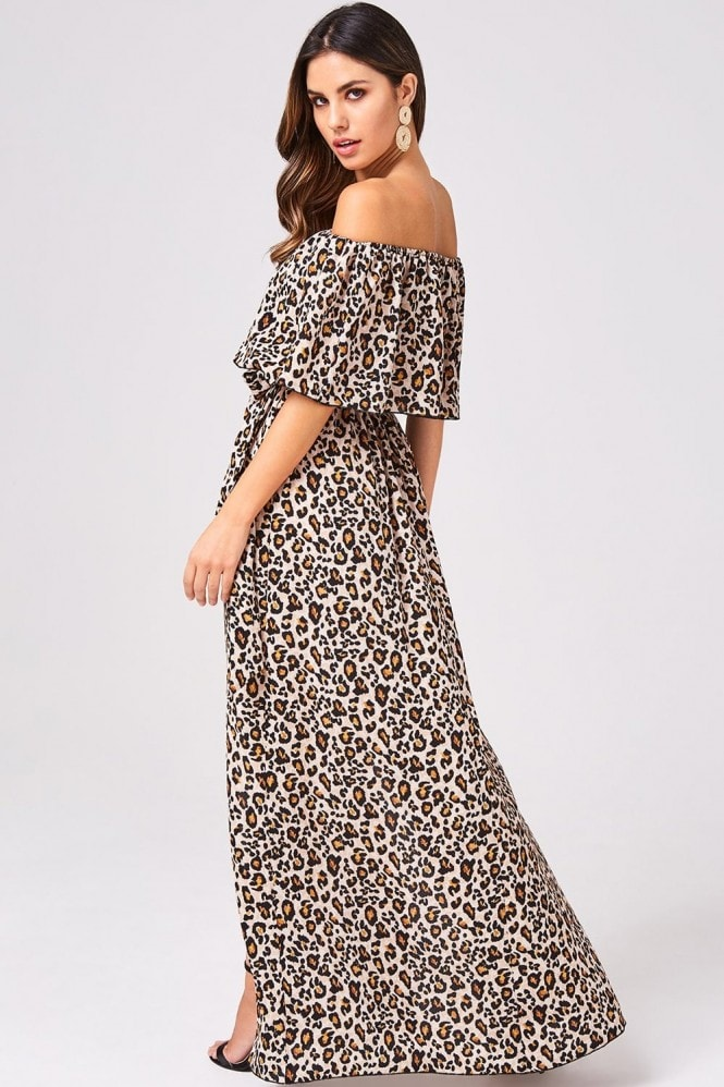 Girls on Film Faithful Leopard Off-The-Shoulder Maxi Dress