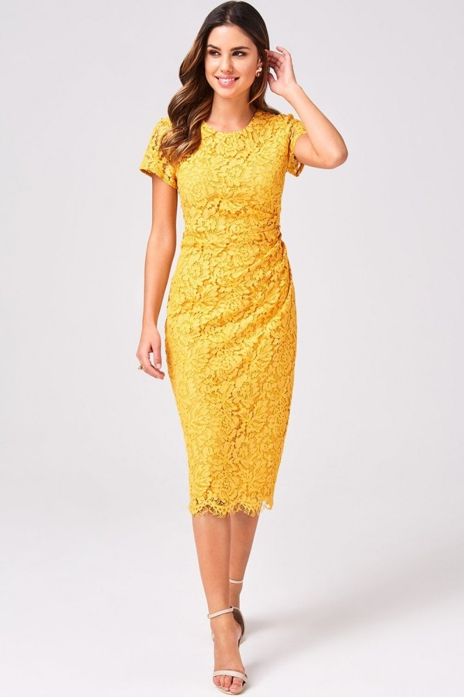 Girls on Film Shana Mustard Lace Bodycon Dress
