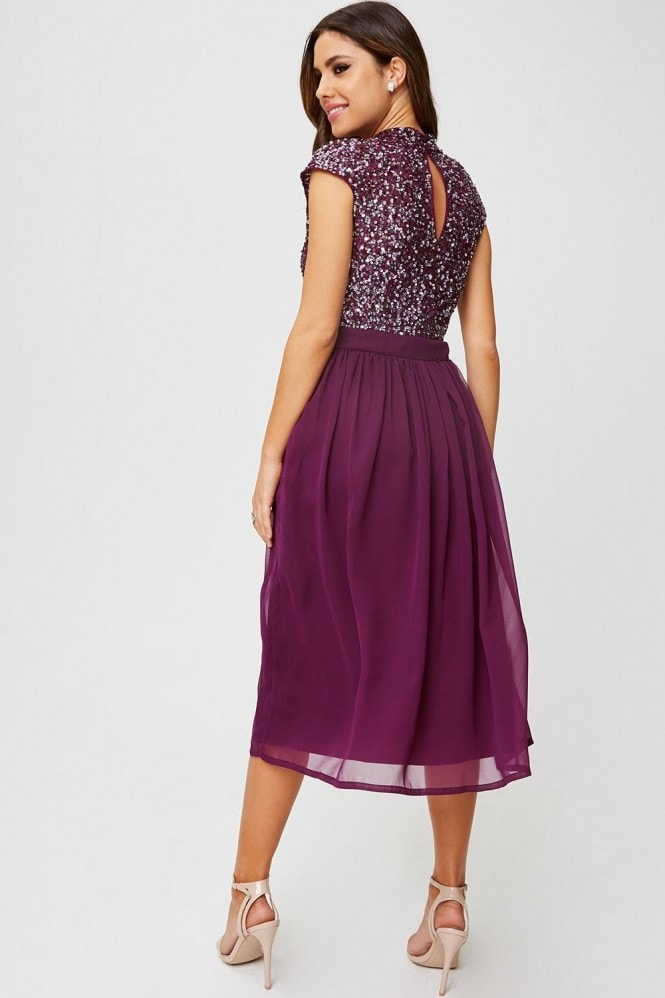 Little Mistress Michelle Plum Sequin Top Midi Dress
