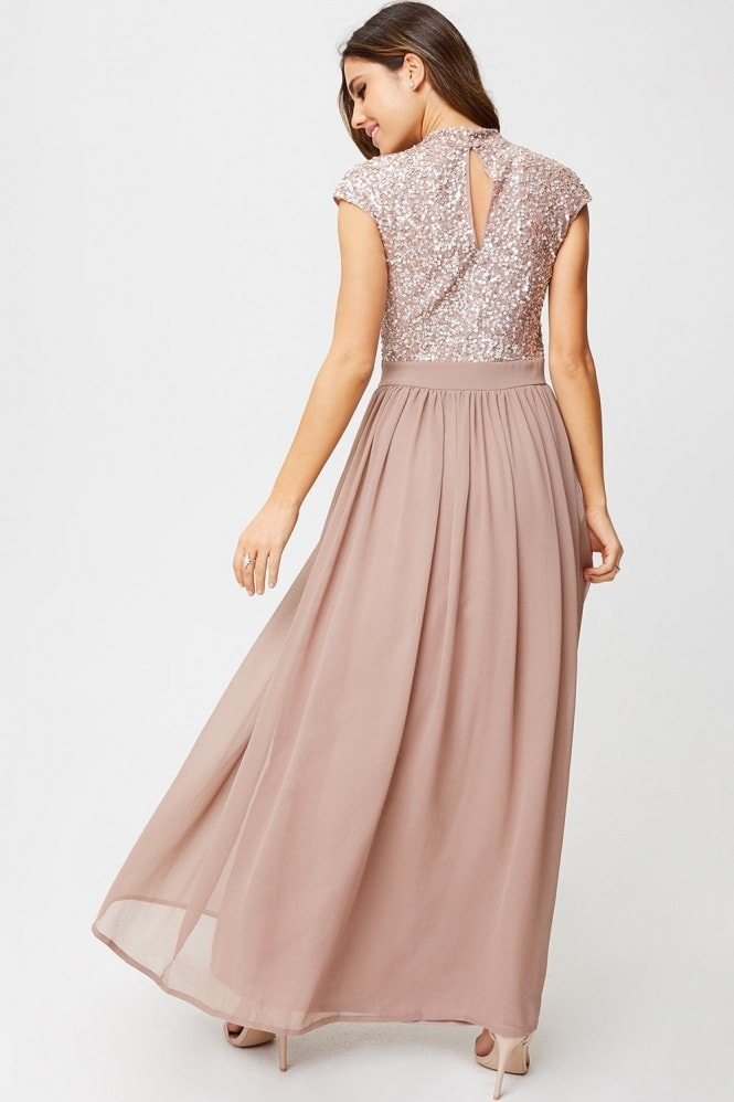 Little Mistress Luxury Michelle Mink Hand-Embellished Sequin Top Maxi Dress