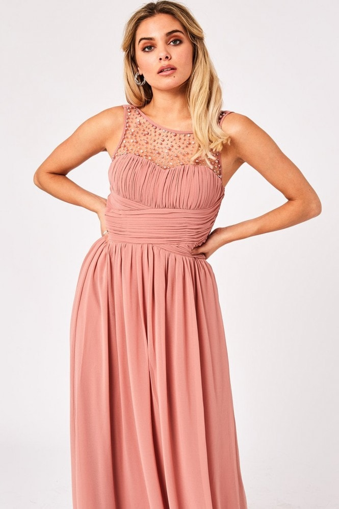 Little Mistress Grace Peach Embellished Neck Maxi Dress