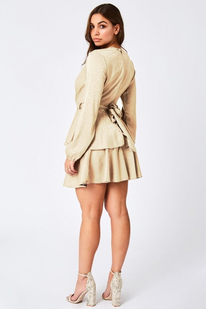 Levi Cream Jacquard Ruffle Tea Dress