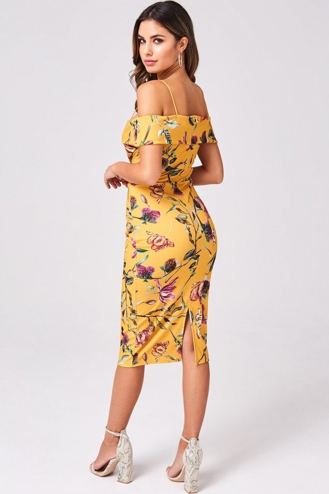 Girls on Film Pose Mustard Floral Foldover Bardot Midi Dress