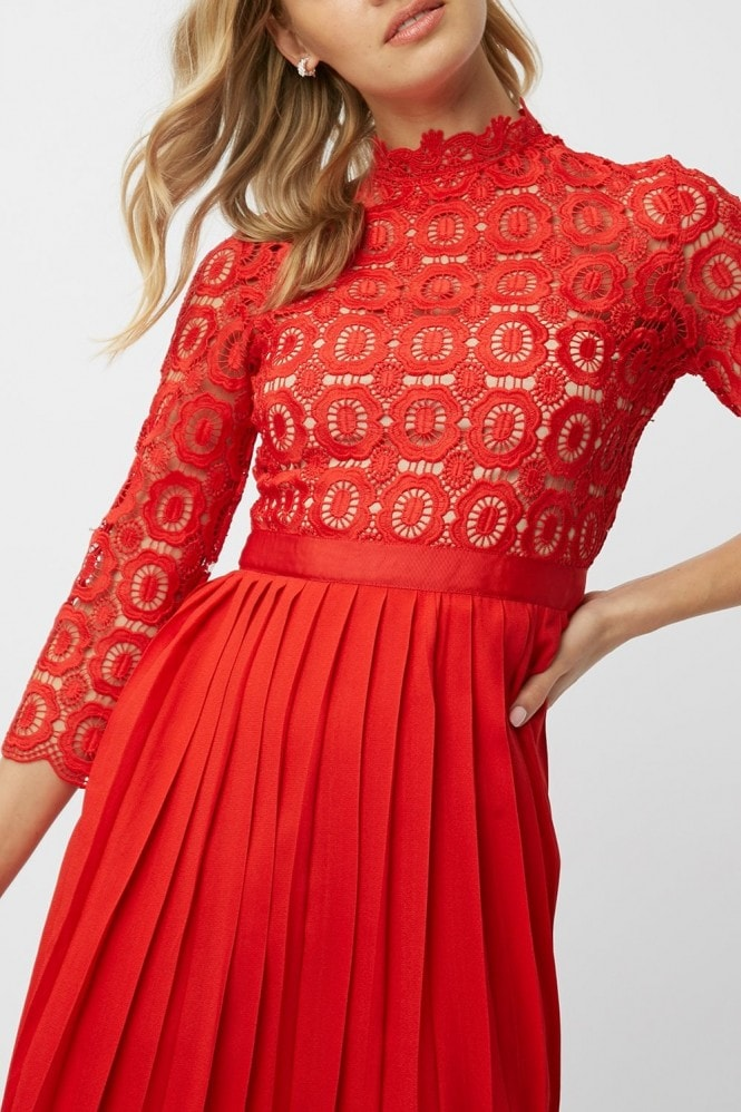 Little Mistress Alice Red Crochet Top Midi Dress With Pleated Skirt
