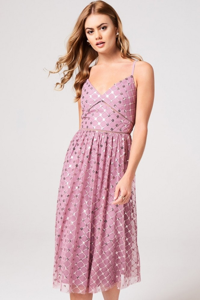 Little Mistress Phoebe Canyon Rose Sequin Midi Dress