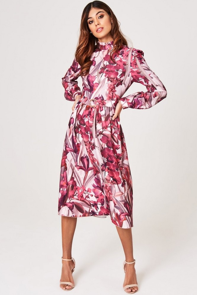 Little Mistress Marlowe Floral Long-Sleeve Belted Midi Dress