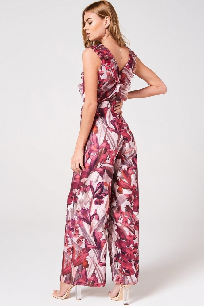 Little Mistress Marlowe Floral Frill Jumpsuit