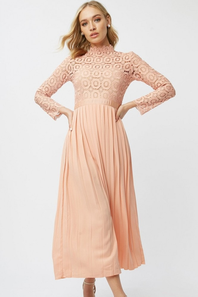 Little Mistress Alice Peach Crochet Top Midaxi Dress With Pleated Skirt