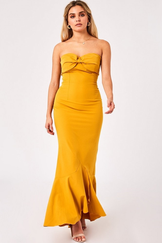 Little Mistress Nikki Spice Gold Bow Bandeau Maxi Dress