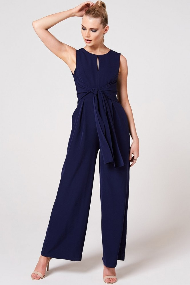Paper Dolls Osaka Navy Tie-Front Jumpsuit