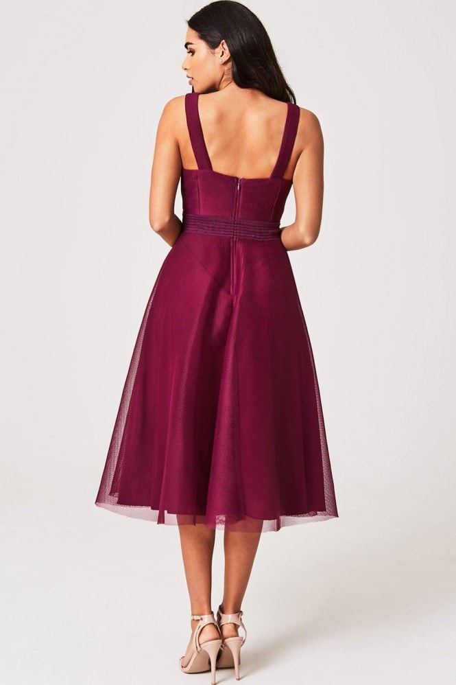 Little Mistress Nikki Mulberry Lattice Mesh Midi Skater Dress