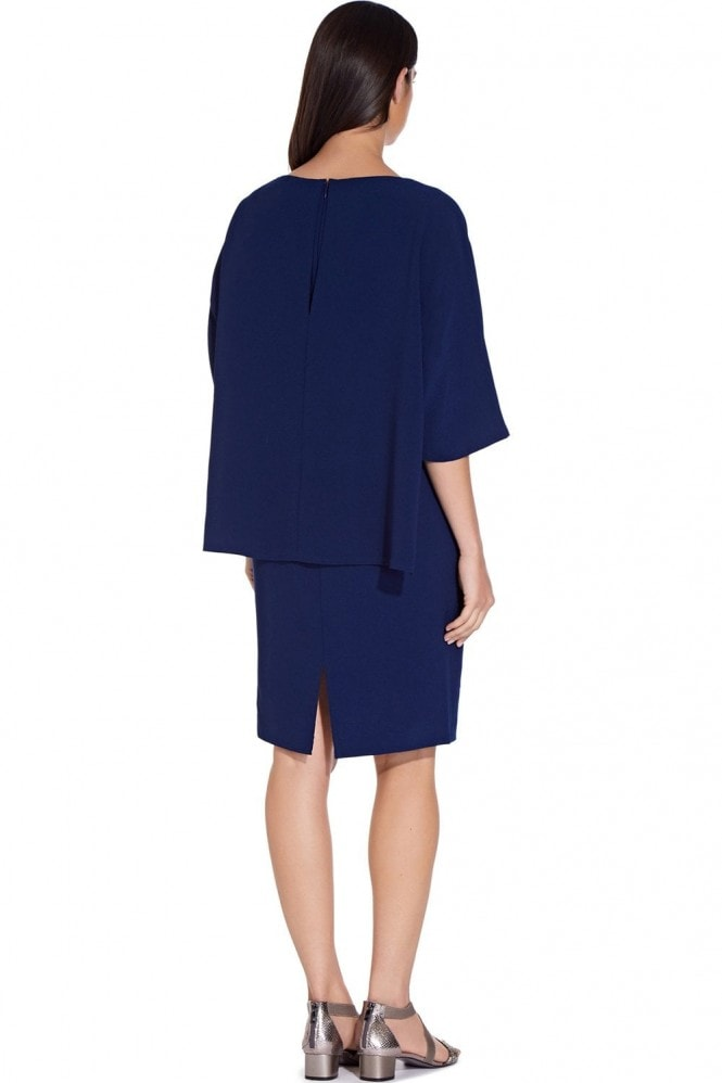 Adrianna Papell Ink Pop Over Textured Crepe Sheath Dress